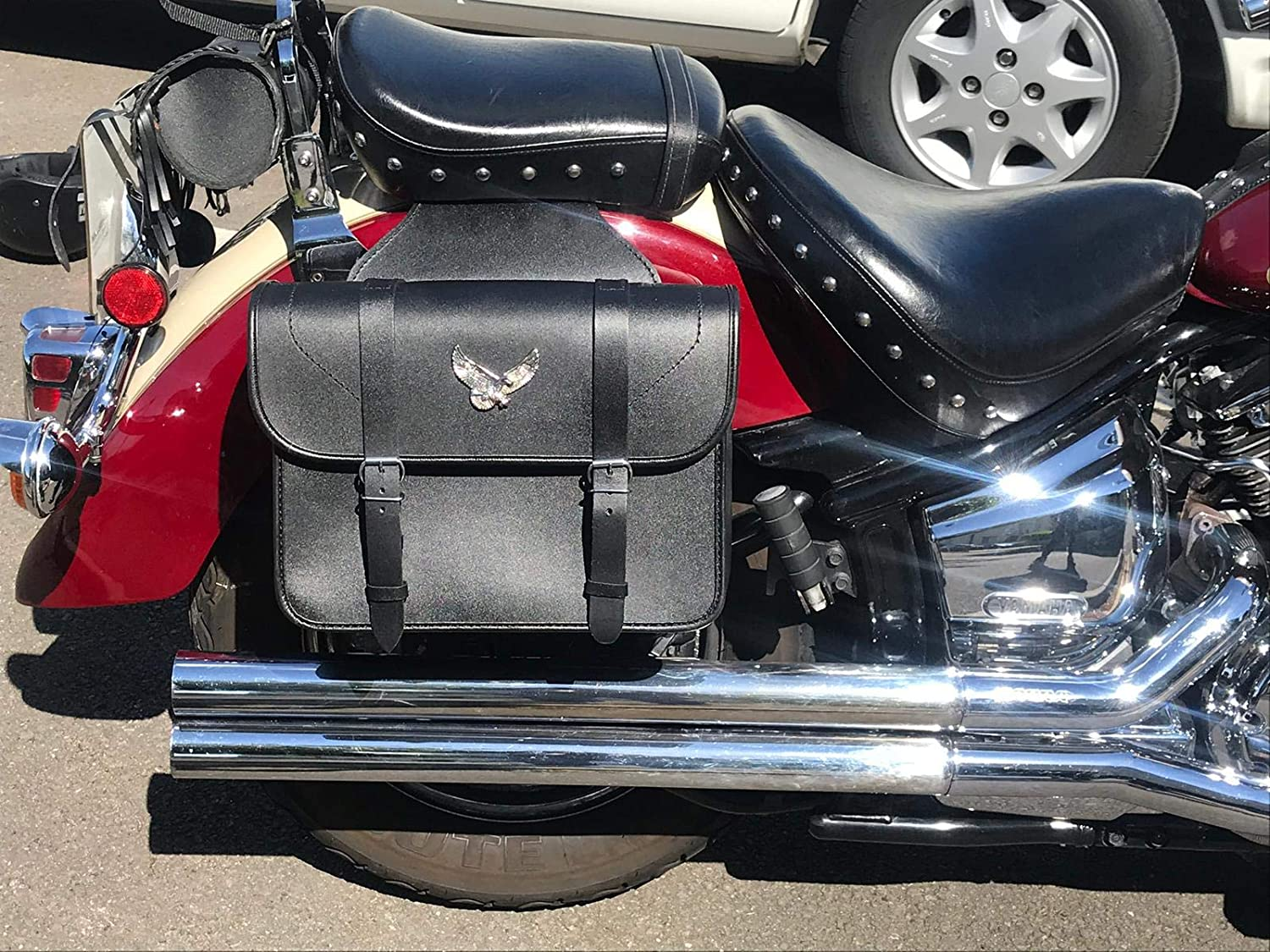 Explorer Motorbike Real Leather Saddle Bag Throw over style panniers Pair FREE KIT