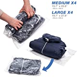 Travel Vacuum Storage Bags Travel Space Saver Bags No Vacuum or Pump Needed - Roll Up Compression Storage Bags For Travel(4 Large + 4 Medium) Camping Hiking Backpack Clothes Storage (Regular)