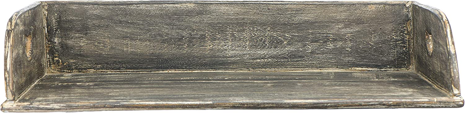 Creative Co-op Decorative Reclaimed Wood Distressed Finish Handles and 3 Sides Tray, Brown