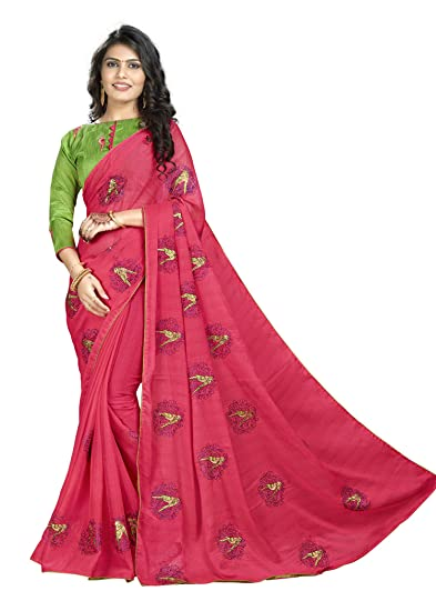 d2e1009896 Kimisha Red Embroidered Two Tone Saree With Contrast Color Blouse (Poly  Chiffon): Amazon.in: Clothing & Accessories