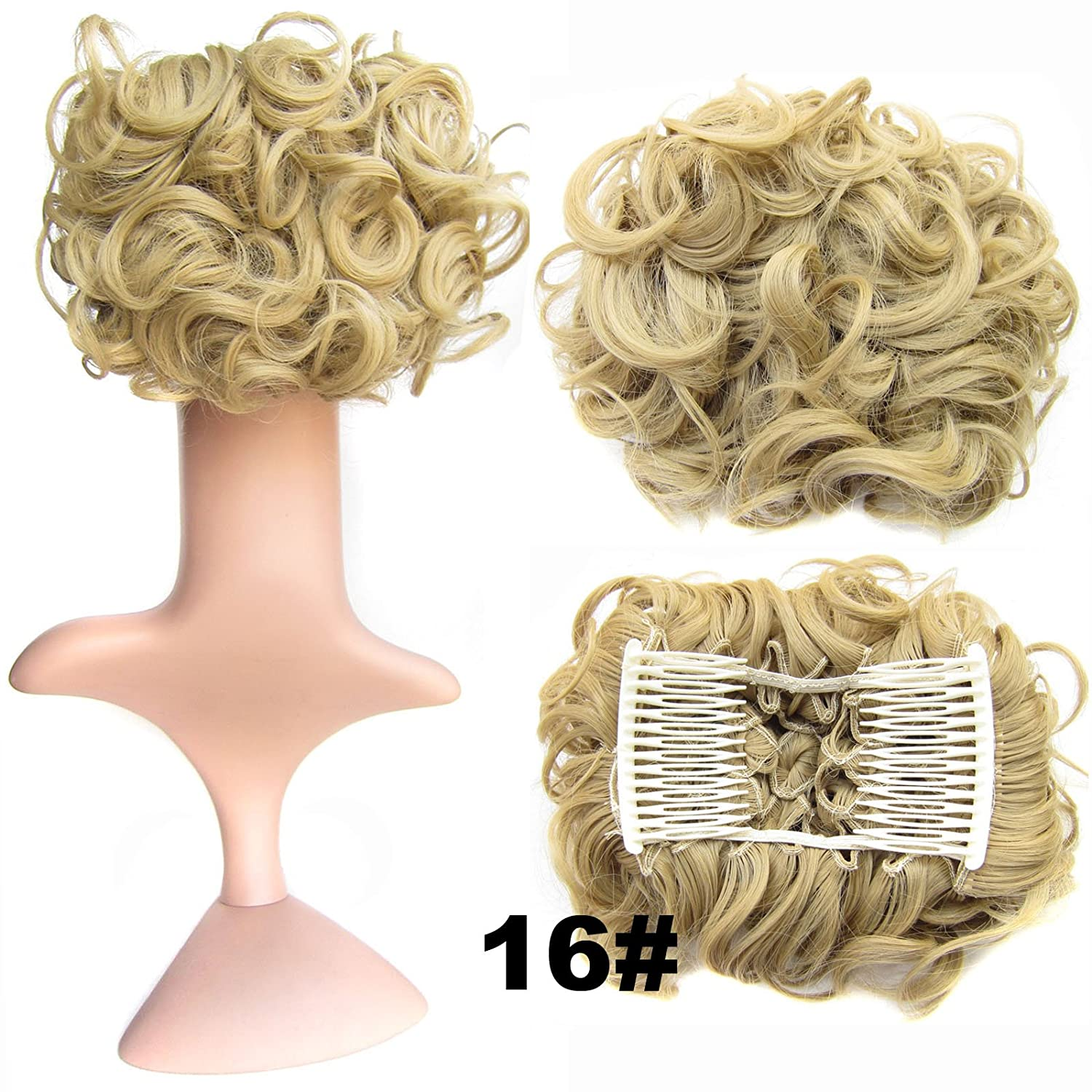 Ani·Lnc 16Colors Short Women's Synthetic Hair Big Bun Chignon Two Plastic Comb Clips in Hair Extension Hairpiece Yueniu
