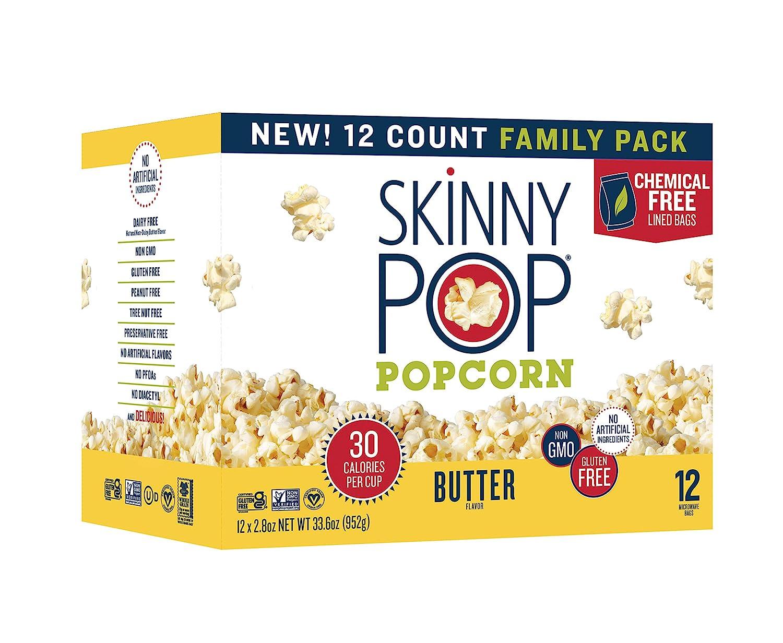 SkinnyPop Butter Microwave Popcorn, 2.8oz Microwavable Bags (Pack of 12), Skinny Pop, Healthy Popcorn, Gluten Free