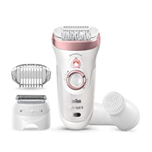 Braun Epilator Silk-épil 9 9-880, Facial Hair Removal for Women, Wet & Dry, Facial Cleansing Brush, Women Shaver & Trimmer, Cordless, Rechargeable, Beauty Kit