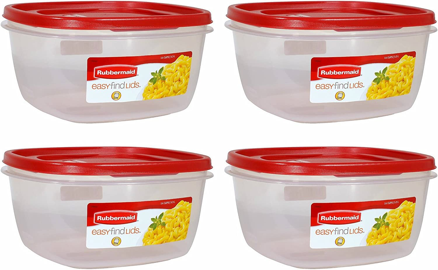 Rubbermaid 1 687965439559 Easy Find Lid Red Food Storage Container, BPA-Free Plastic, 14 Cup Pack of 4, 4-Pack