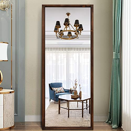 PexFix Standing Floor Mirror 65 X22 , Full Length Mirror Antiques Reclaimed Wood Grain Rectangle Decor Wall Mounted Mirror Dressing Mirror, Hanging Horizontally or Vertically, Distessed Brown