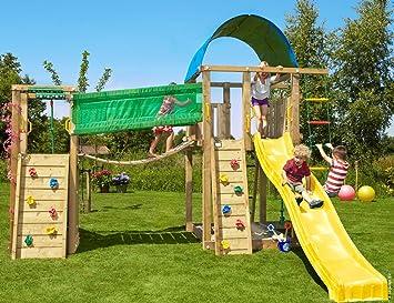 Jungle Gym Villa Bridge Amarillo Parques Infantiles de Madera para Jardin con Tobogan y Muro de Escalada: Amazon.es: Juguetes y juegos