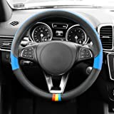 FH GROUP FH2008 Full Spectrum Genuine Leather Steering Wheel Cover, Blue color- Fit Most Car, Truck, Suv, or Van