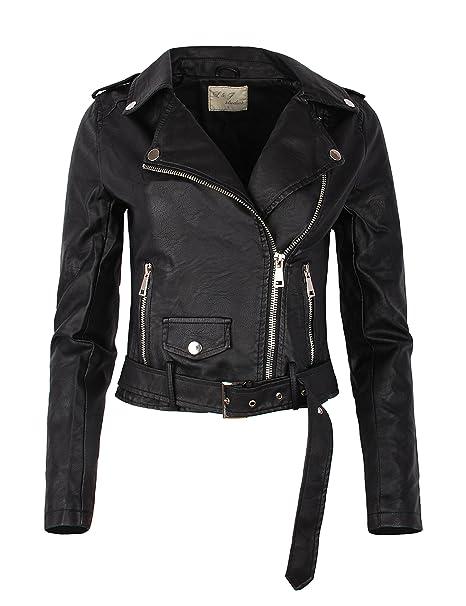 Giacca biker con cintura corta in pelle nera