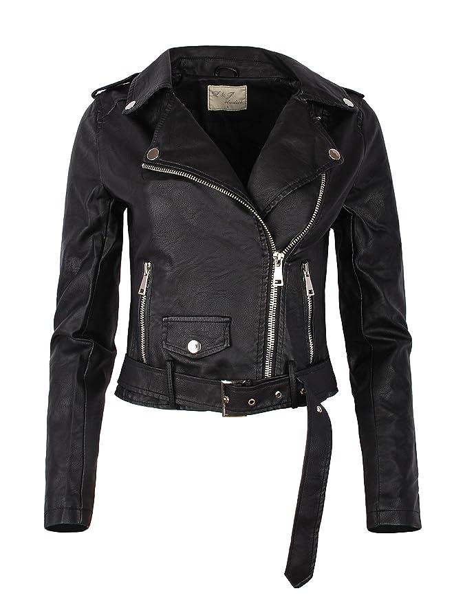 Fraternel Damen Jacke Bikerjacke Kunstlederjacke mit Gürtel