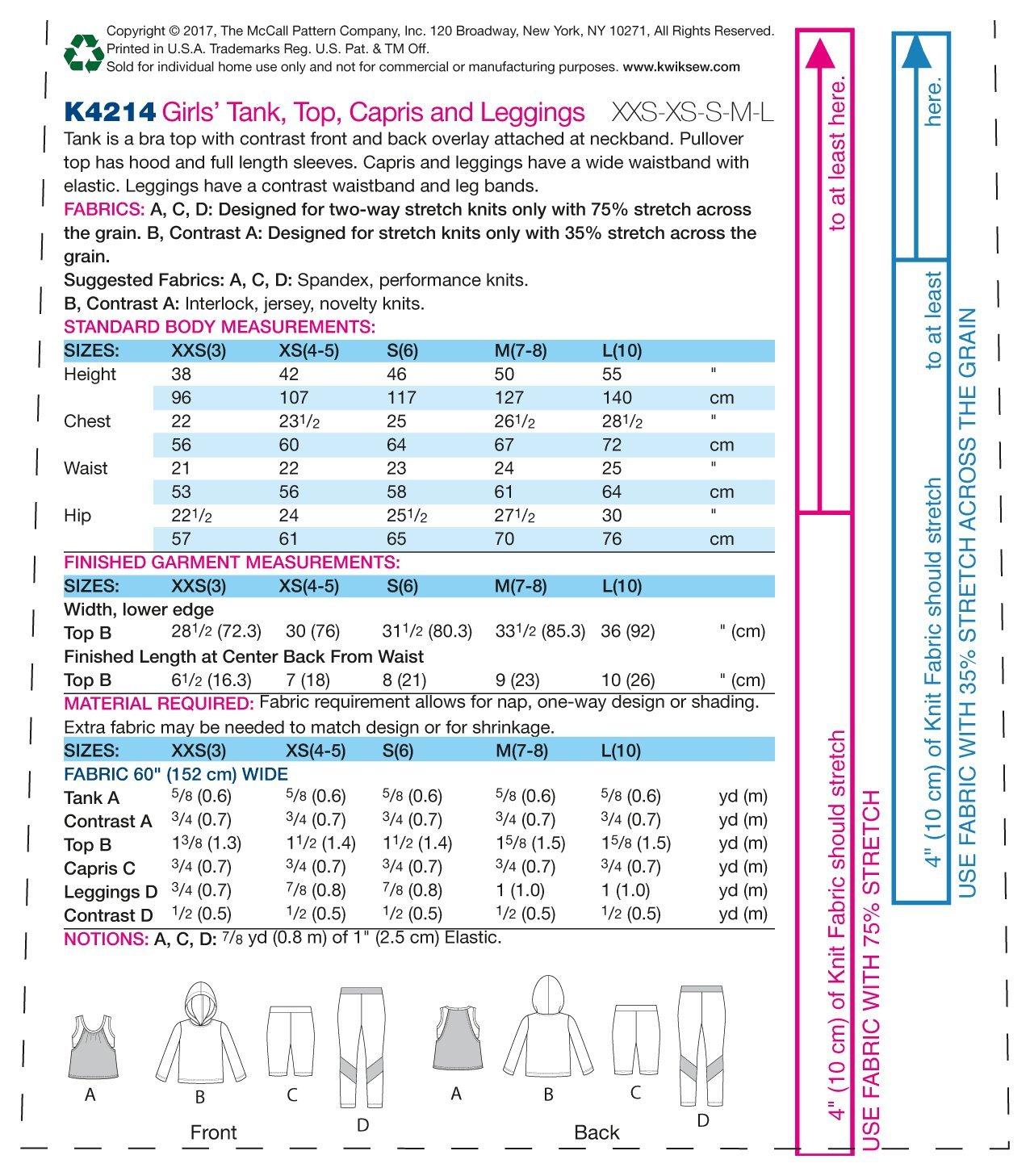 KWIK-SEW PATTERNS MCCALL \'s Patterns k4214os niña de Tanque/Top ...