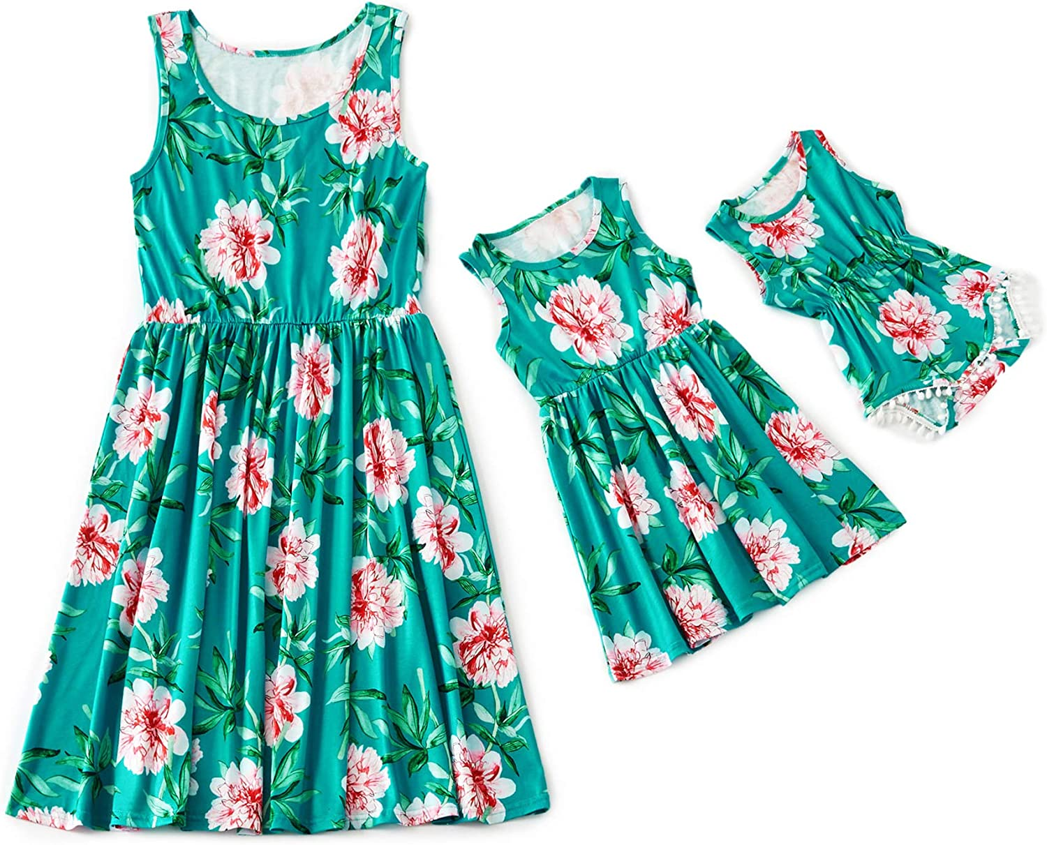 IFFEI Mommy and Me Matching Knee Dress Sleeveless Floral Printed Casual Tank Pleated Dress for Mother and Daughter