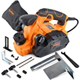 """VonHaus 7.5 Amp Electric Wood Hand Planer Kit with 3-1/4"""" Planing Width and Extra Set of Planer Replacement Wood Blades - Ele"""