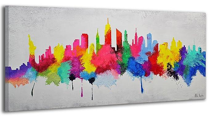 100% TRAVAIL FAIT À LA MAIN + certificat / Le tableau est dessiné par les couleurs acryliques Bonne humeur / tableaux sur la toile avec sous-cadre en bois naturel / tableau fait à la main / fixation mural