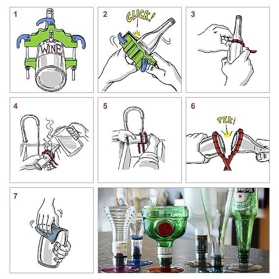 Cortador de Botellas Cortador de vidrio Cortar Cerveza Botella de vino Herramiento de DIY Botella Corte Redonda Cortador Artesanía para hacer Ornamentos DIY ...