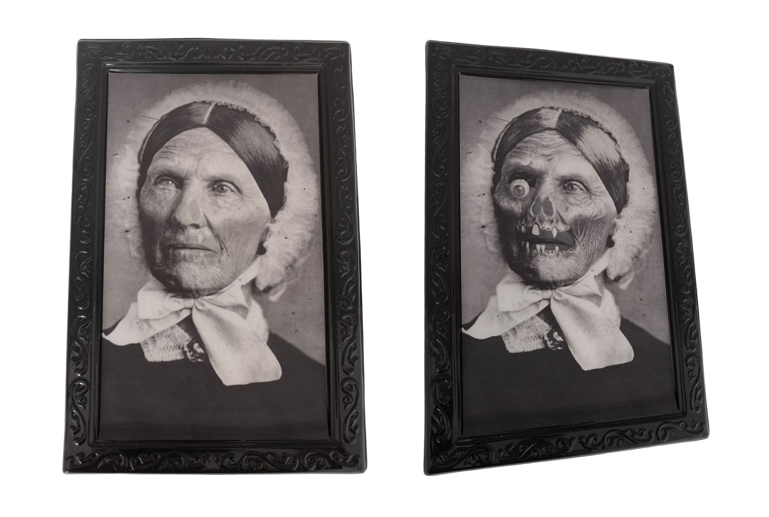 Halloween Lenticular 3D Changing Face Moving Picture Frame Horror Portrait Lady Gentleman Little Girl Monster Haunted Spooky Decorations for Halloween Theme Party Home Decor (Maid)