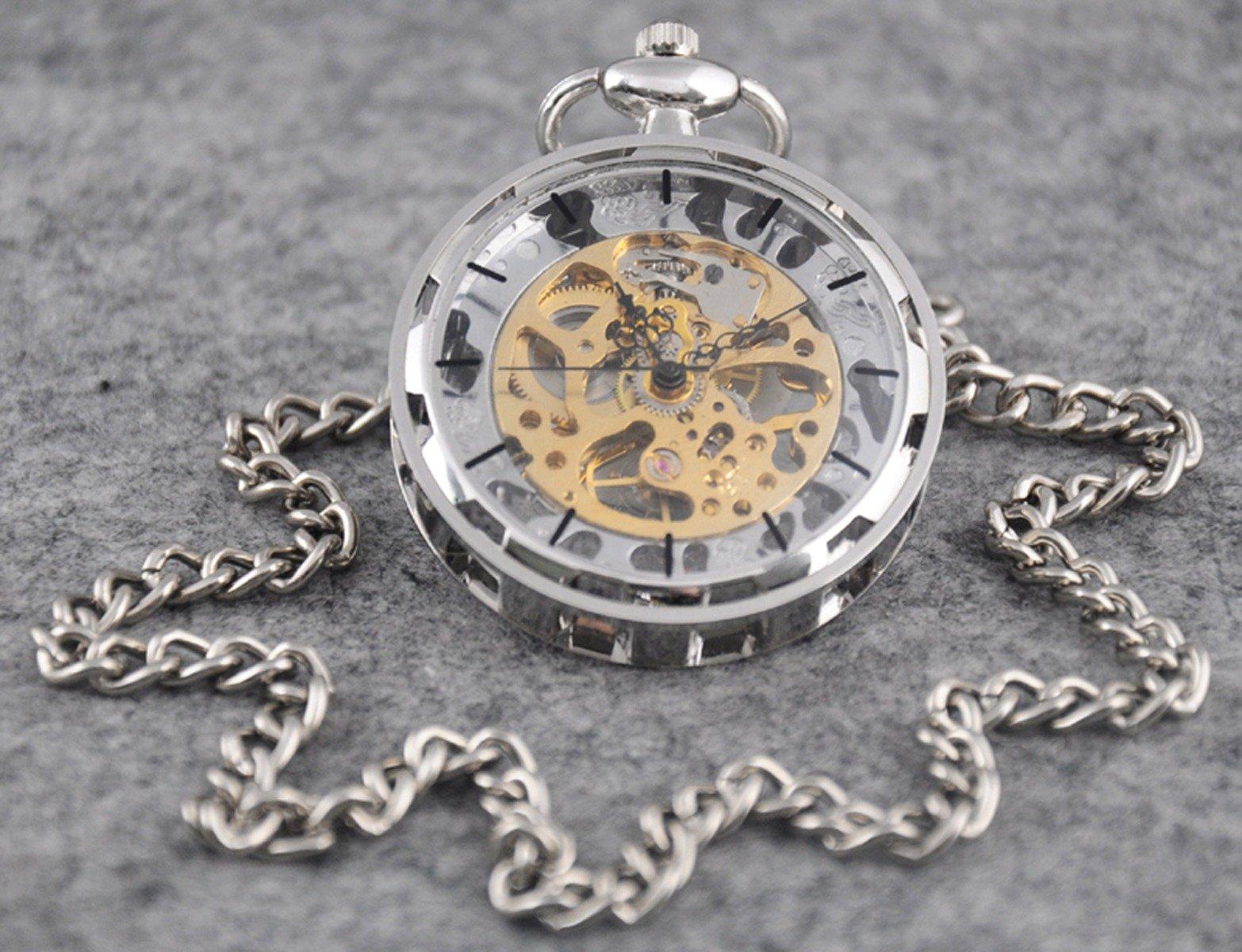 VIGOROSO Mens Classic Steampunk Gold Skeleton Hand Wind Mechanical Pocket Watch by VIGOROSO (Image #3)