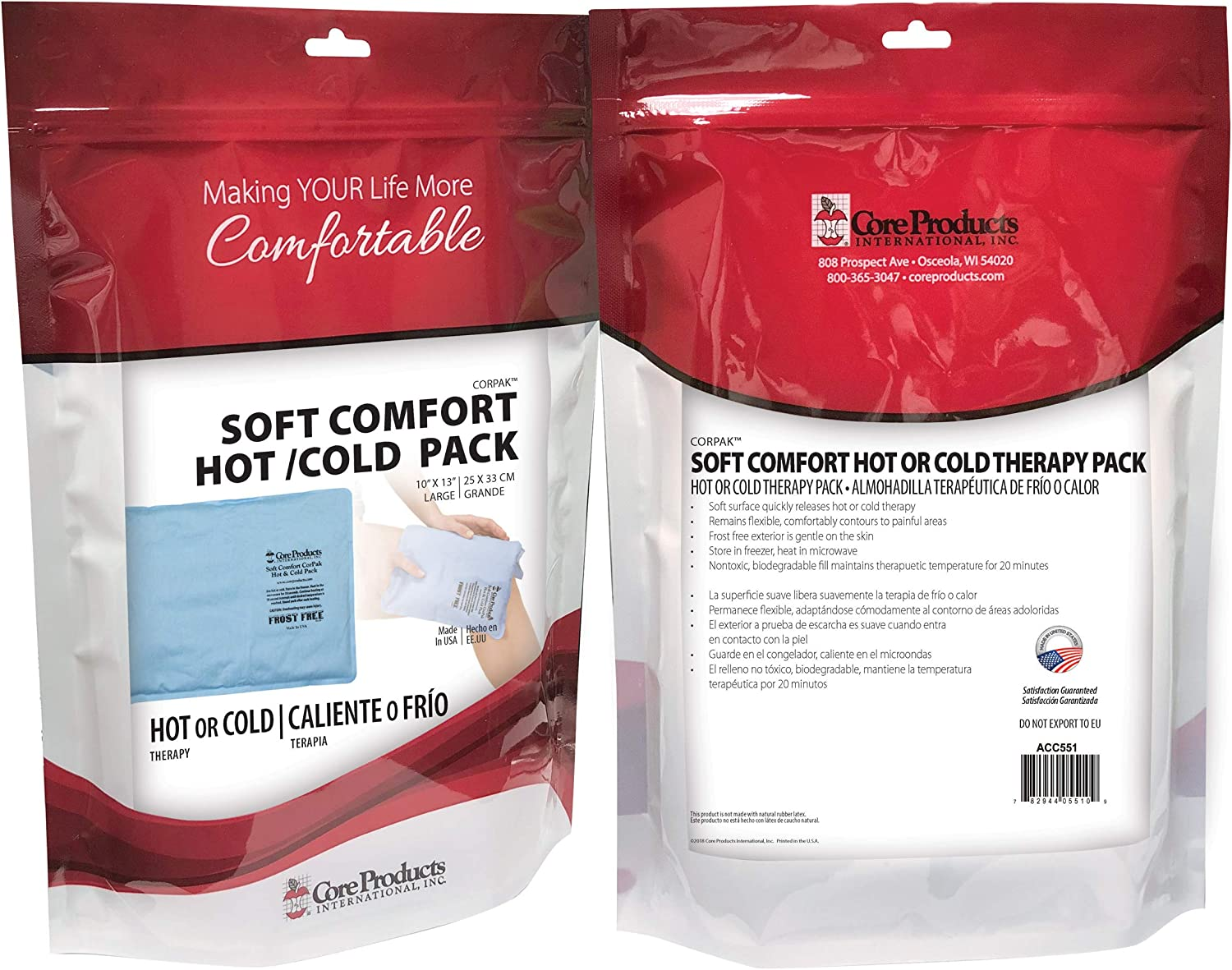 """Core Products Soft Comfort CorPak Hot and Cold Therapy - 10"""" X 13"""" (2 Pack): Health & Personal Care"""