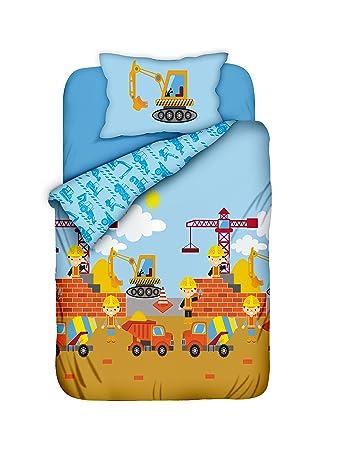 Aminata Kids Bettwäsche 100 X 135 Cm Jungen Bagger Kinder Baumwolle Mit Reißverschluss Bunt