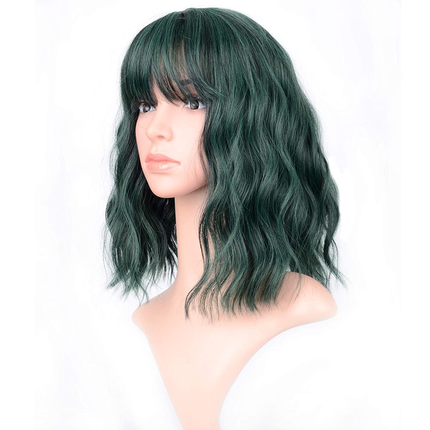 """VCKOVCKO Short Bob Wigs Pastel Wavy Wig With Air Bangs Women's Shoulder Length Wigs Curly Wavy Synthetic Cosplay Wig Pastel Bob Wig for Girl Colorful Costume Wigs(12"""", Mix Green)"""