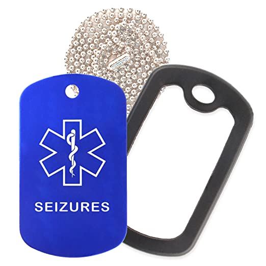 Seizures Medical Alert ID Necklace with Blue Tag, Black Silencer, and 30''  USA Chain - 154 Color