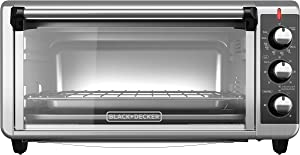 BLACK+DECKER TO3250XSB 8-Slice Extra Wide Convection Countertop Toaster Oven, Includes Bake Pan, Broil Rack & Toasting Rack, Stainless Steel/Black (Renewed)