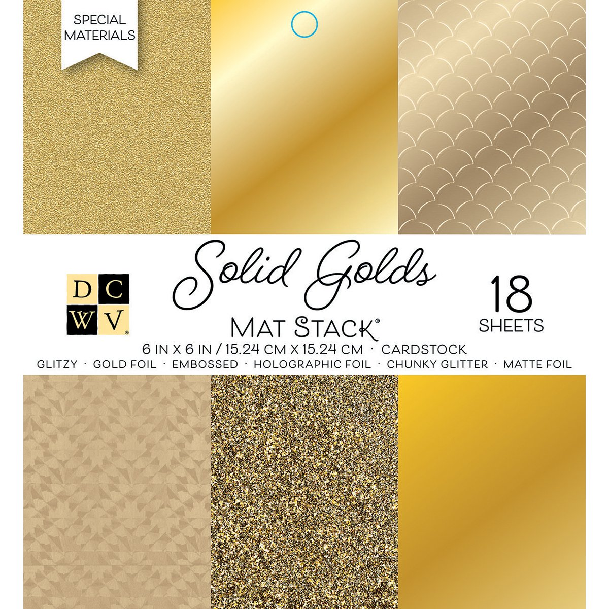 DCWV 6'' x 6'' Gold Cardstock Stack by DCWV