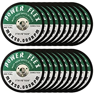 """20 PACK - CUT OFF WHEELS 3"""" x 1/16"""" x 3/8"""" - For Cutting All Steel and Ferrous Metals."""