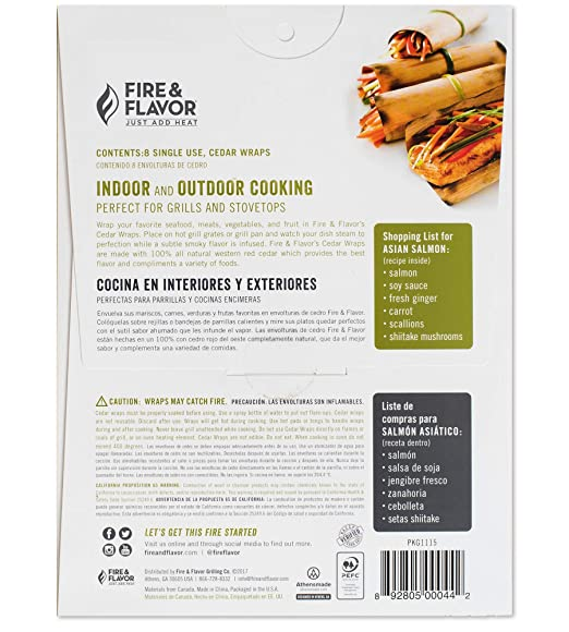 Amazon.com : Fire & Flavor Natural Red Cedar Grilling Paper Wraps w Cotton String Ties, 8.5 X 6.25 Inch, 8 Count, Pack of 3 : Garden & Outdoor