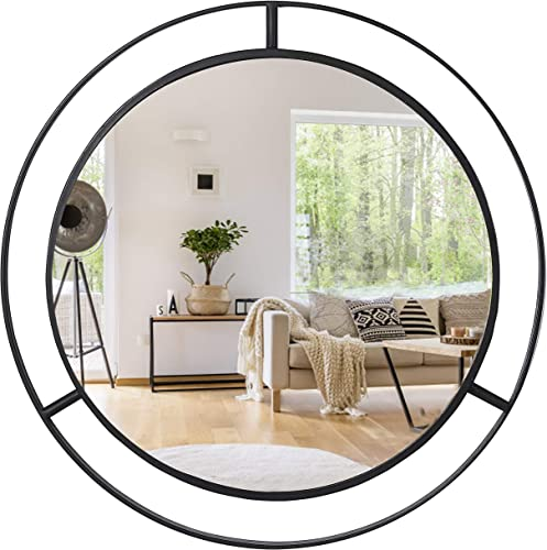 Decorative Mirrors for Wall Decor Round Wall Mirror with Circle Ring Frame for Bedroom Bathroom Living Room Entryway
