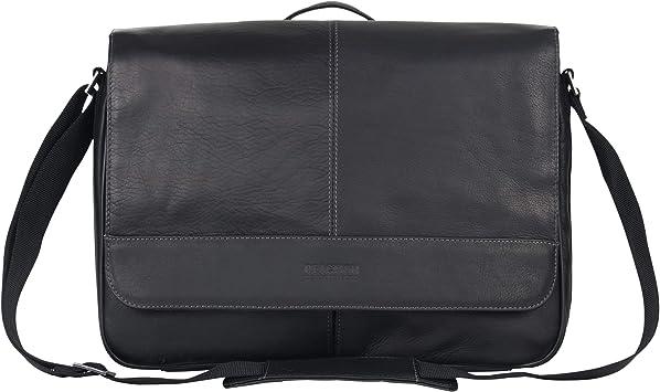 Black Leather Men/'s Messenger Bag Travel Organizer Cross Body Hand Strap Purse