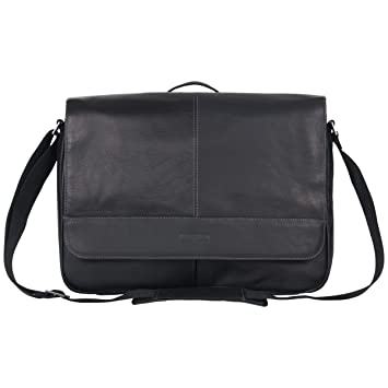 addb79104 Amazon.com | Kenneth Cole Reaction Risky Business Full-Grain Colombian  Leather Crossbody Flapover Messenger Bag, Black | Messenger Bags