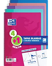 Oxford - Pack de 5 cuadernos (tapa blanda, 80 hojas, cuadrícula 4x4 con margen, colores surtidos tendencia)