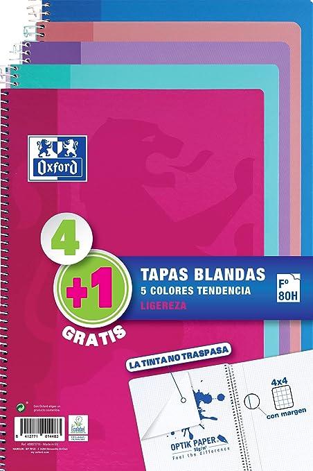Pack 4+1 Cuadernos Folio(A4) Oxford. Tapa Blanda. 80 Hojas ...