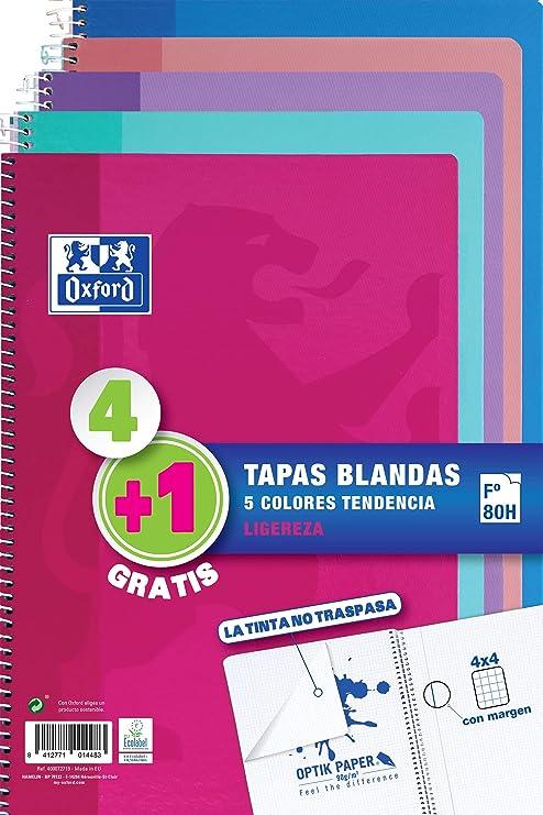 Pack 4+1 Cuadernos Folio(A4) Oxford. Tapa Blanda. 80 Hojas cuadrícula 4x4. Surtido aleatorio tendencia.: Amazon.es: Oficina y papelería