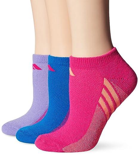 adidas Niñas cojín no show calcetines (Pack de 3) - 104477, azul,