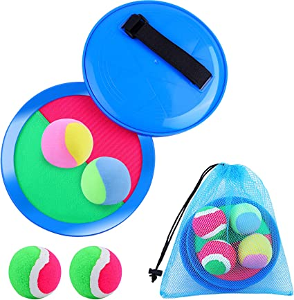 4Pack Super-Sticky Paddle Game Set with 2 Paddles /&2 Balls Blue//Yellow Paddle Catch Games Toy for Kids//Adult KONIBN Paddle Toss and Catch Ball Set