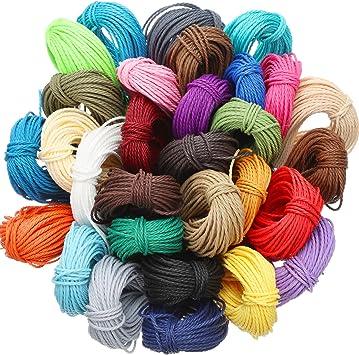 328 Yardas 30 Colores 1 MM Cordón de Hilo de Poliéster Encerado Hilo de Pulsera de Macramé para Fabricación de Joyas Cables de Bricolaje, 10 M Cada ...