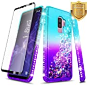 NageBee Glitter Case Compatible with Samsung Galaxy S9 w/[Full Cover Screen Protector HD Clear] Liquid Quicksand Waterfall Floating Flowing Sparkle Shiny Bling Diamond Girls Cute Case -Aqua/Purple