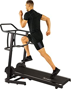 Sunny Health & FitnessManual Treadmill with 16 Levels of Magnetic Resistance, 300 LB Max Weight and Dual Flywheels