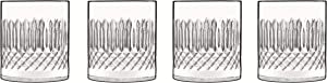 Luigi Bormioli Diamonte 12.75 oz Glass, Set of 4 Double Old Fashion Drinkware, Clear