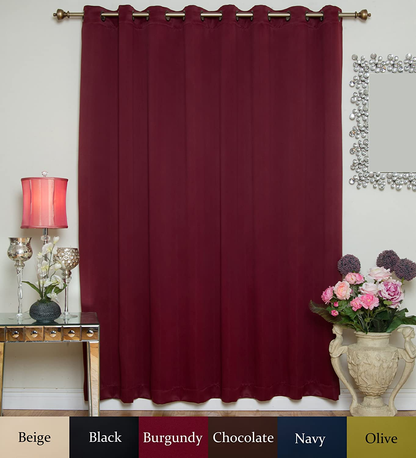 Burgundy Wide Width Antique Brass Grommet Top Thermal Insulated Blackout Curtain