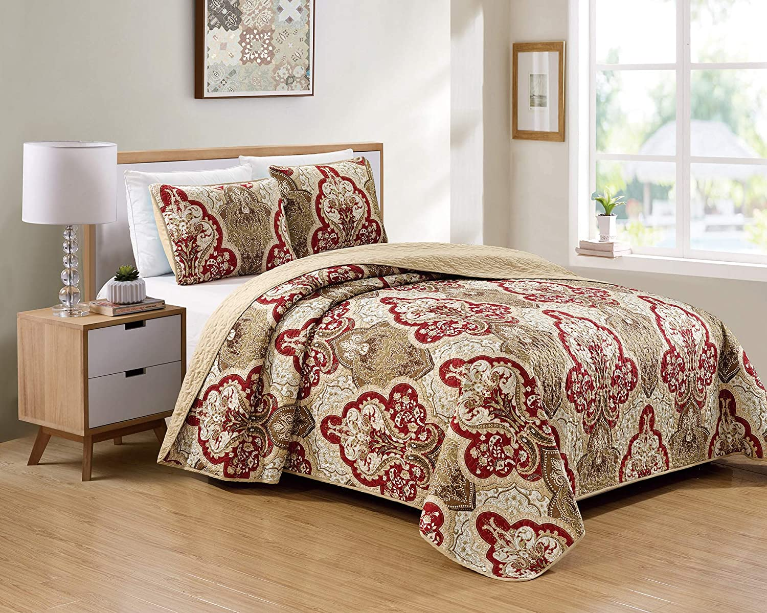 Better Home Style 3 Piece Luxury Lush Soft Taupe Burgundy Motif Ornamental Floral Printed Design Quilt Coverlet Bedspread Oversized Bed Cover Set # 3562 (Taupe, Full/Queen)