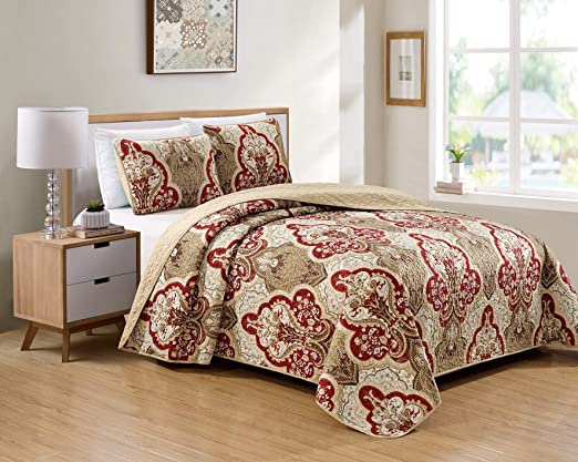 Twin XL Full Queen Cal King Bed Beige Brown Tan 3pc Quilt Set Bedspread Coverlet