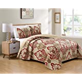 Better Home Style 3 Piece Luxury Lush Soft Taupe Burgundy Motif Ornamental Floral Printed Design Quilt Coverlet Bedspread Ove