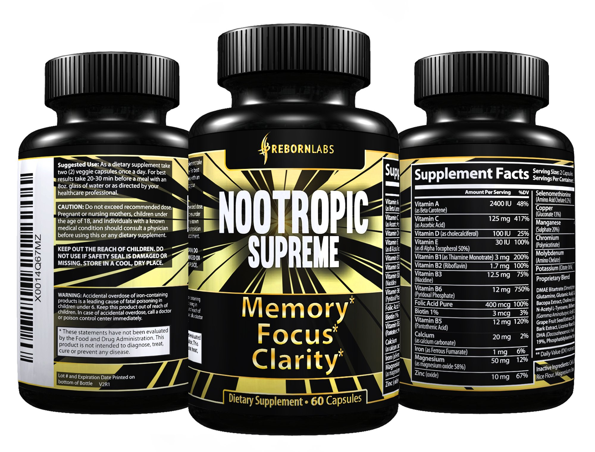 Ultra Strength Mental Performance Supplement for Memory, Focus, & Clarity   With 40+ Natural Brain Boosters for Faster, Noticeable Results   Advanced Nootropic Complex Helps Brain Function