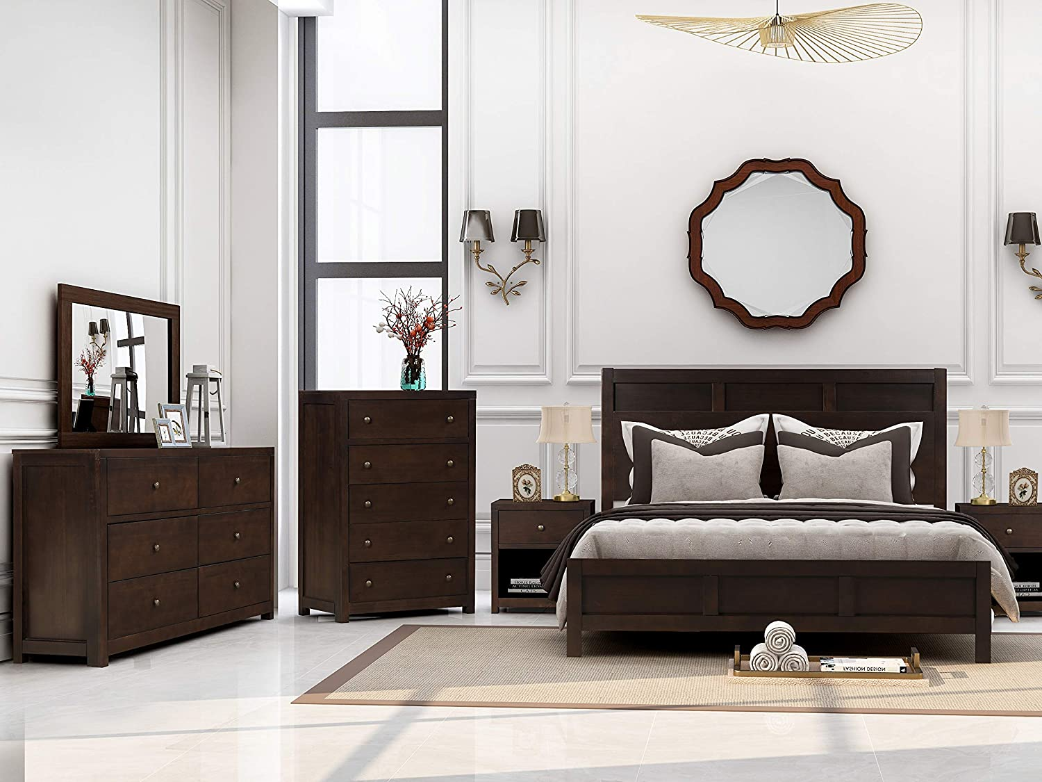 Merax 6 Pieces Bedroom Furniture Set, Bedroom Set with Queen Size Platform Bed, Two Nightstands, Dresser, Chest and Mirror, Rich Brown Color