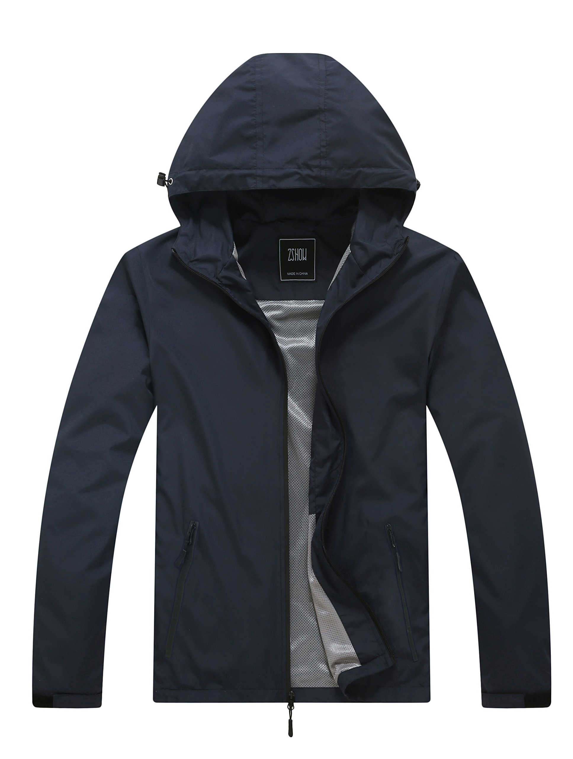 ZSHOW Men's Spring Lightweight Skin Coat Packable Windproof Jacket For Camping(Navy,Small)
