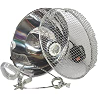 Clamp Lamp Reflector Dome and Grill Silver 150W For Reptile Vivarium