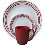 Corelle Livingware 16-Piece Dinnerware Set, Ruby Red, Service for 4