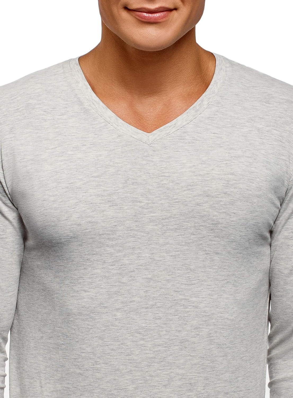 oodji Ultra Homme T-Shirt sans /Étiquette Manche Longue avec Col en V